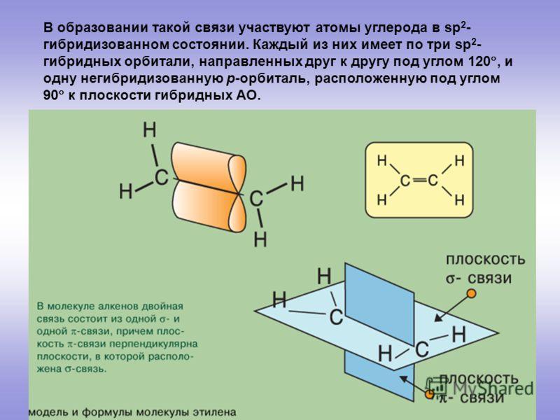 В образовании такой связи участвуют атомы углерода в sp 2 - гибридизованном состоянии. Каждый из них имеет по три sp 2 - гибридных орбитали, направленных друг к другу под углом 120, и одну негибридизованную р-орбиталь, расположенную под углом 90 к пл