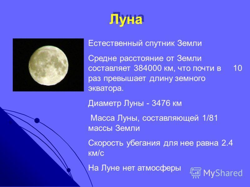 Луна Естественный спутник Земли Средне расстояние от Земли составляет 384000 км, что почти в 10 раз превышает длину земного экватора. Диаметр Луны - 3476 км Масса Луны, составляющей 1/81 массы Земли Скорость убегания для нее равна 2.4 км/с На Луне не