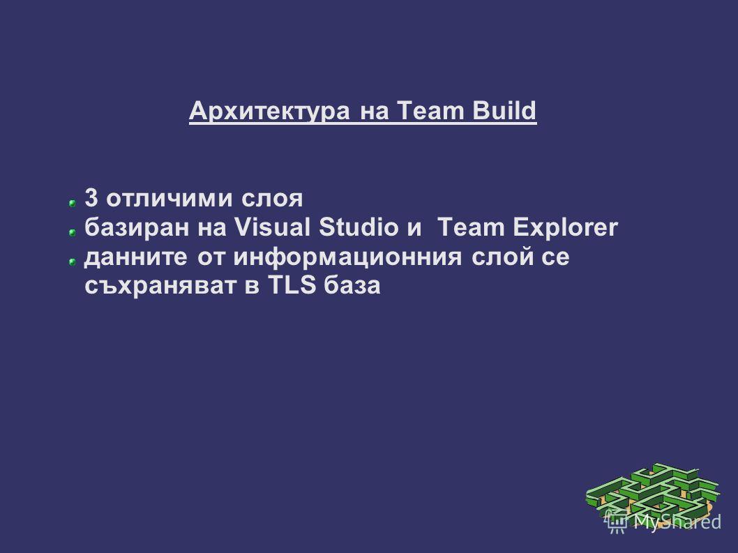 Архитектура на Team Build 3 отличими слоя базиран на Visual Studio и Team Explorer данните от информационния слой се съхраняват в TLS база
