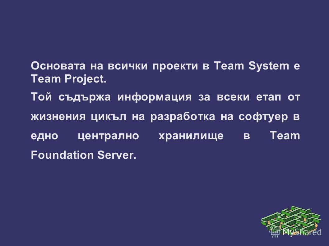 Основата на всички проекти в Team System е Team Project. Той съдържа информация за всеки етап от жизнения цикъл на разработка на софтуер в едно централно хранилище в Team Foundation Server.