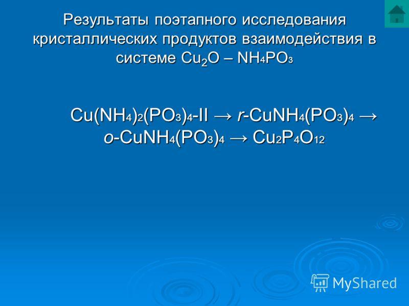 Результаты поэтапного исследования кристаллических продуктов взаимодействия в системе Cu 2 O – NH 4 PO 3 Cu(NH 4 ) 2 (PO 3 ) 4 -II r-CuNH 4 (PO 3 ) 4 o-CuNH 4 (PO 3 ) 4 Cu 2 P 4 O 12 Cu(NH 4 ) 2 (PO 3 ) 4 -II r-CuNH 4 (PO 3 ) 4 o-CuNH 4 (PO 3 ) 4 Cu