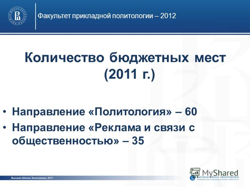 Количество бюджетных мест (2011 г.) Направление «Политология» – 60 Направление «Реклама и связи с общественностью» – 35 Факультет прикладной политологии – 2012