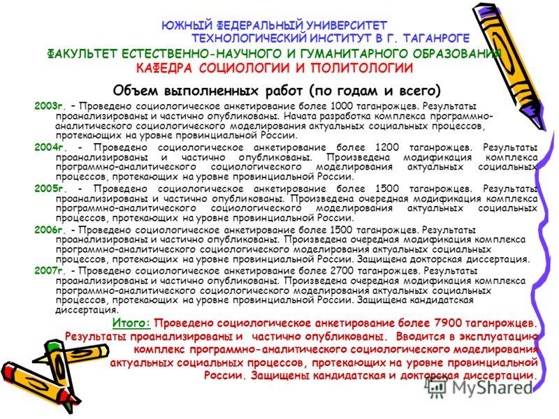 ЮЖНЫЙ ФЕДЕРАЛЬНЫЙ УНИВЕРСИТЕТ ТЕХНОЛОГИЧЕСКИЙ ИНСТИТУТ В Г. ТАГАНРОГЕ ФАКУЛЬТЕТ ЕСТЕСТВЕННО-НАУЧНОГО И ГУМАНИТАРНОГО ОБРАЗОВАНИЯ КАФЕДРА СОЦИОЛОГИИ И ПОЛИТОЛОГИИ 2003г. – Проведено социологическое анкетирование более 1000 таганрожцев. Результаты проа