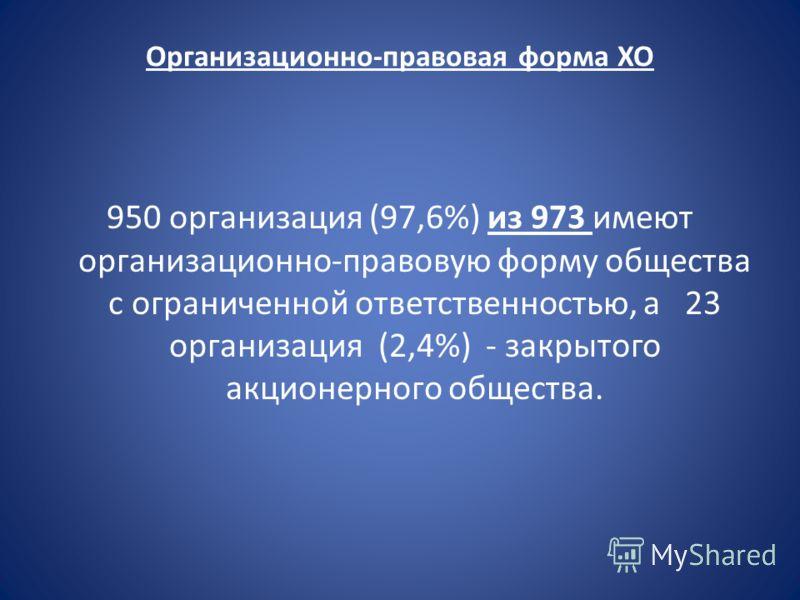 Организационно-правовая форма ХО 950 организация (97,6%) из 973 имеют организационно-правовую форму общества с ограниченной ответственностью, а 23 организация (2,4%) - закрытого акционерного общества.