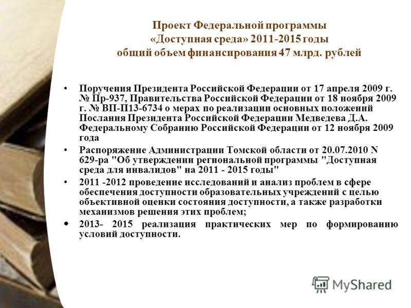 Проект Федеральной программы «Доступная среда» 2011-2015 годы общий объем финансирования 47 млрд. рублей Поручения Президента Российской Федерации от 17 апреля 2009 г. Пр-937, Правительства Российской Федерации от 18 ноября 2009 г. ВП-П13-6734 о мера