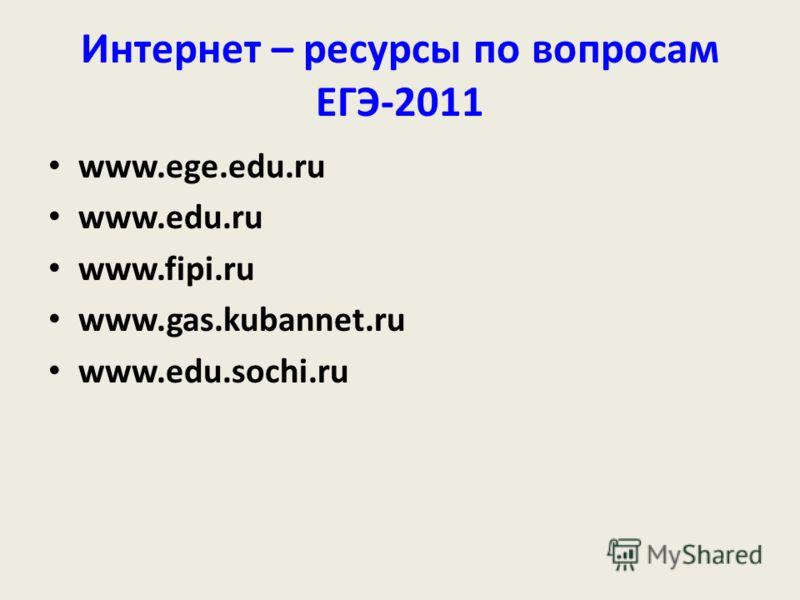 Интернет – ресурсы по вопросам ЕГЭ-2011 www.ege.edu.ru www.edu.ru www.fipi.ru www.gas.kubannet.ru www.edu.sochi.ru