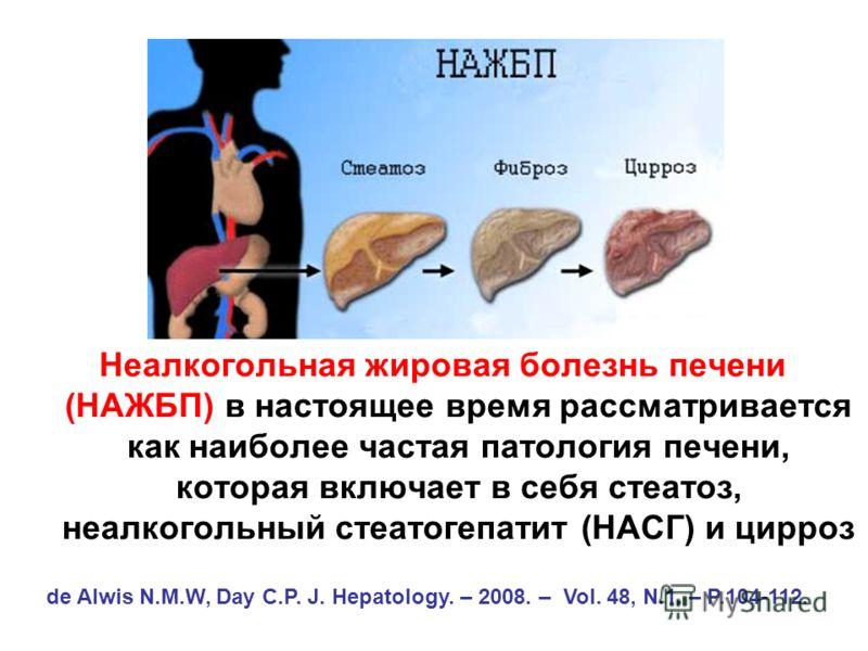 Неалкогольная жировая болезнь печени (НАЖБП) в настоящее время рассматривается как наиболее частая патология печени, которая включает в себя стеатоз, неалкогольный стеатогепатит (НАСГ) и цирроз de Alwis N.M.W, Day C.P. J. Hepatology. – 2008. – Vol. 4