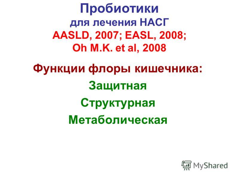 Пробиотики для лечения НАСГ AASLD, 2007; EASL, 2008; Oh M.K. et al, 2008 Функции флоры кишечника: Защитная Структурная Метаболическая
