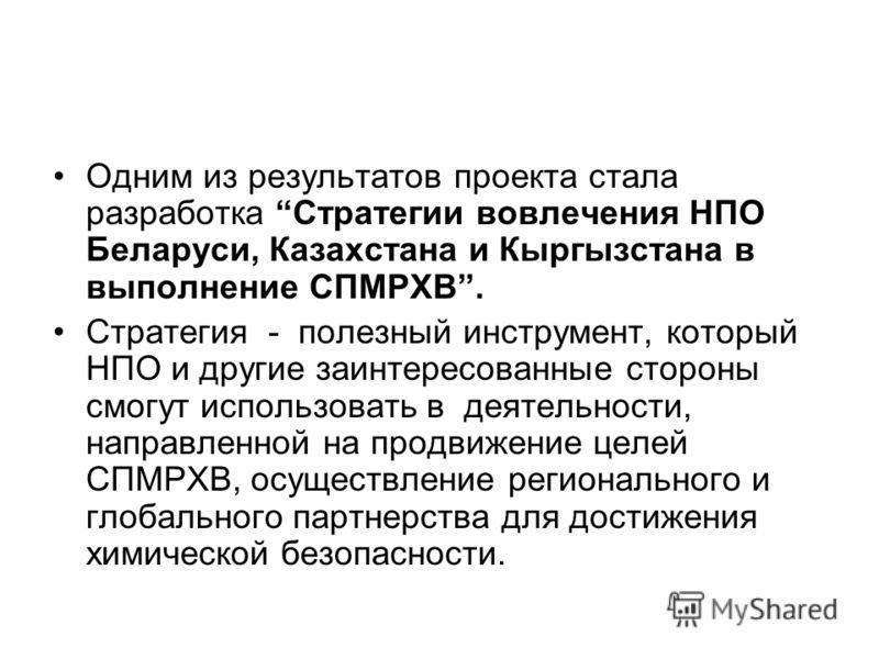 Одним из результатов проекта стала разработка Стратегии вовлечения НПО Беларуси, Казахстана и Кыргызстана в выполнение СПМРХВ. Стратегия - полезный инструмент, который НПО и другие заинтересованные стороны смогут использовать в деятельности, направле