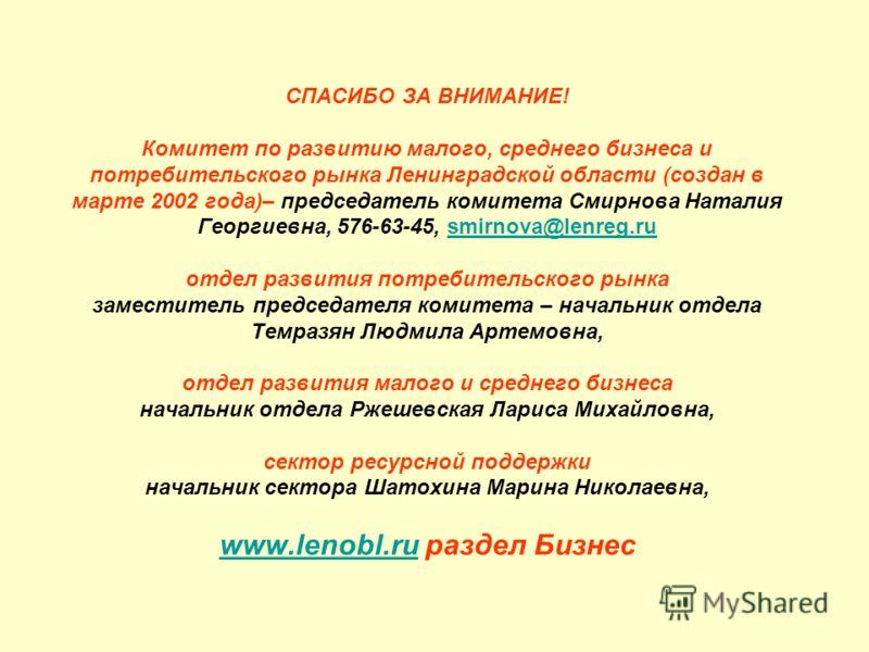 СПАСИБО ЗА ВНИМАНИЕ! Комитет по развитию малого, среднего бизнеса и потребительского рынка Ленинградской области (создан в марте 2002 года)– председатель комитета Смирнова Наталия Георгиевна, 576-63-45, smirnova@lenreg.ru отдел развития потребительск