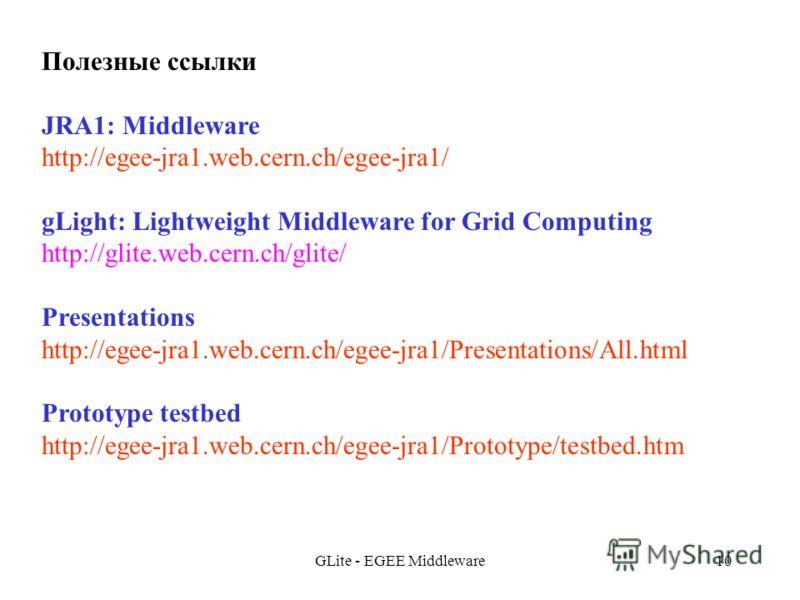 GLite - EGEE Middleware10 Полезные ссылки JRA1: Middleware http://egee-jra1.web.cern.ch/egee-jra1/ gLight: Lightweight Middleware for Grid Computing http://glite.web.cern.ch/glite/ Presentations http://egee-jra1.web.cern.ch/egee-jra1/Presentations/Al