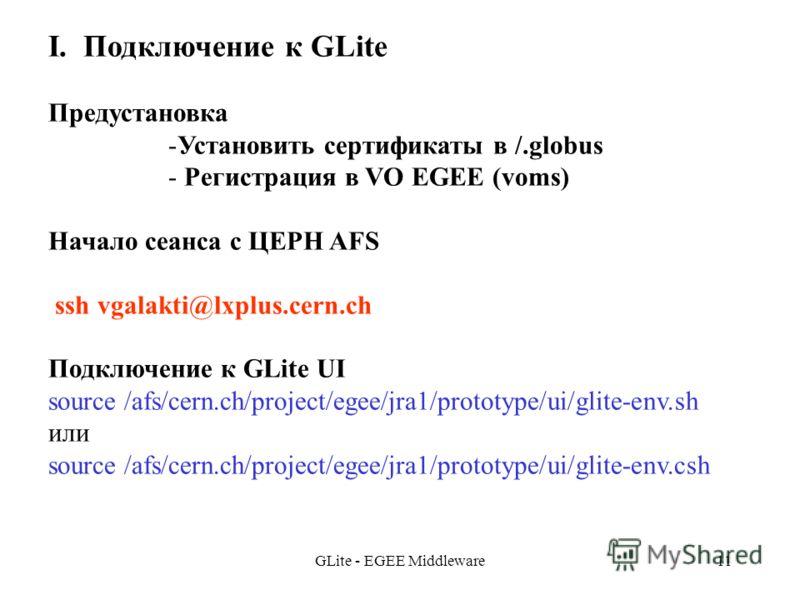 GLite - EGEE Middleware11 I. Подключение к GLite Предустановка -Установить сертификаты в /.globus - Регистрация в VO EGEE (voms) Начало сеанса с ЦЕРН AFS ssh vgalakti@lxplus.cern.ch Подключение к GLite UI source /afs/cern.ch/project/egee/jra1/prototy