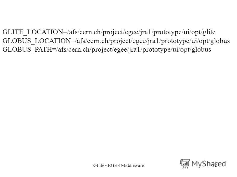 GLite - EGEE Middleware12 GLITE_LOCATION=/afs/cern.ch/project/egee/jra1/prototype/ui/opt/glite GLOBUS_LOCATION=/afs/cern.ch/project/egee/jra1/prototype/ui/opt/globus GLOBUS_PATH=/afs/cern.ch/project/egee/jra1/prototype/ui/opt/globus