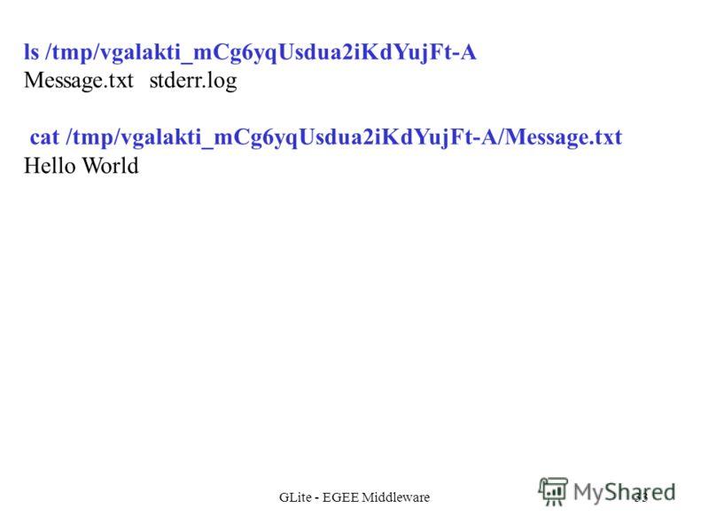 GLite - EGEE Middleware33 ls /tmp/vgalakti_mCg6yqUsdua2iKdYujFt-A Message.txt stderr.log cat /tmp/vgalakti_mCg6yqUsdua2iKdYujFt-A/Message.txt Hello World