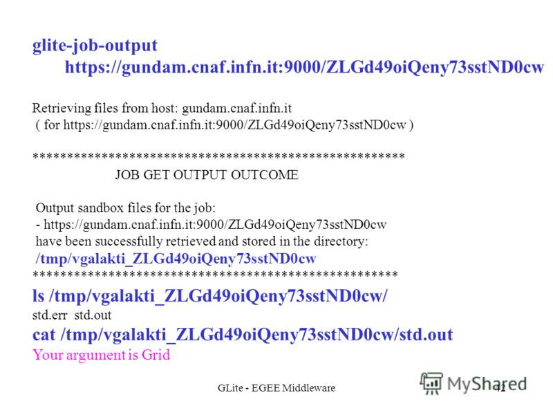 GLite - EGEE Middleware42 glite-job-output https://gundam.cnaf.infn.it:9000/ZLGd49oiQeny73sstND0cw Retrieving files from host: gundam.cnaf.infn.it ( for https://gundam.cnaf.infn.it:9000/ZLGd49oiQeny73sstND0cw ) ***************************************
