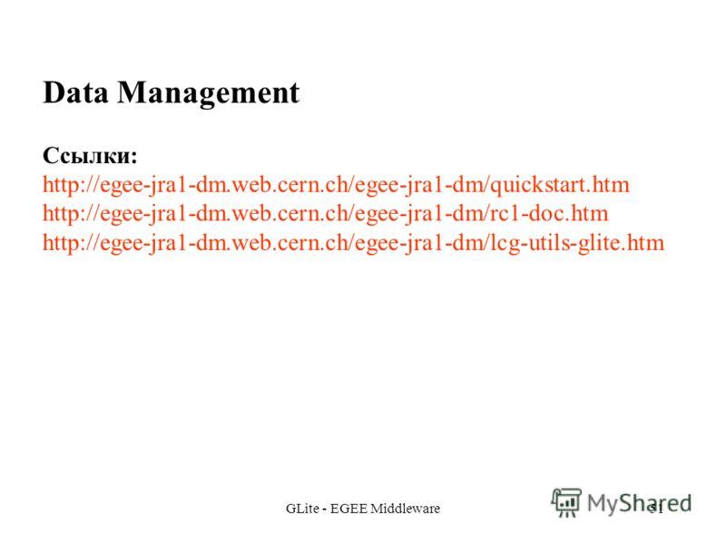GLite - EGEE Middleware51 Data Management Ссылки: http://egee-jra1-dm.web.cern.ch/egee-jra1-dm/quickstart.htm http://egee-jra1-dm.web.cern.ch/egee-jra1-dm/rc1-doc.htm http://egee-jra1-dm.web.cern.ch/egee-jra1-dm/lcg-utils-glite.htm