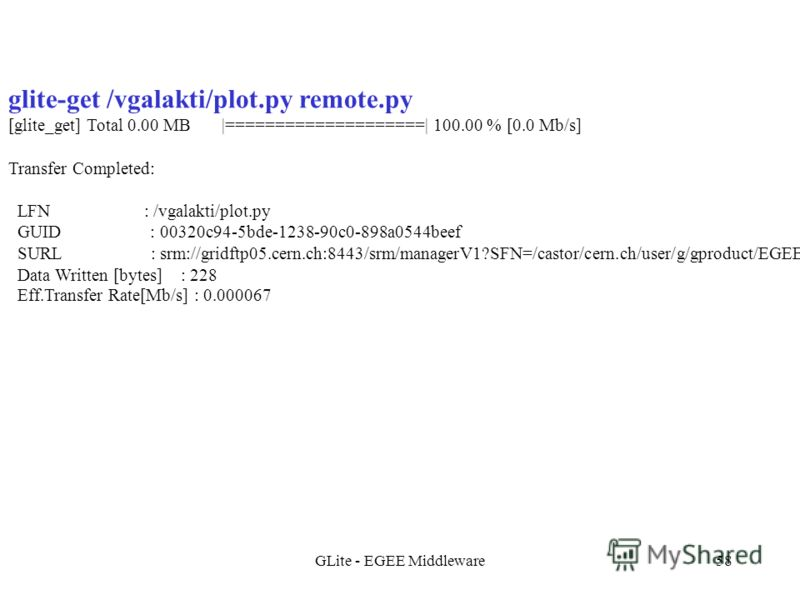 GLite - EGEE Middleware58 glite-get /vgalakti/plot.py remote.py [glite_get] Total 0.00 MB |====================| 100.00 % [0.0 Mb/s] Transfer Completed: LFN : /vgalakti/plot.py GUID : 00320c94-5bde-1238-90c0-898a0544beef SURL : srm://gridftp05.cern.c