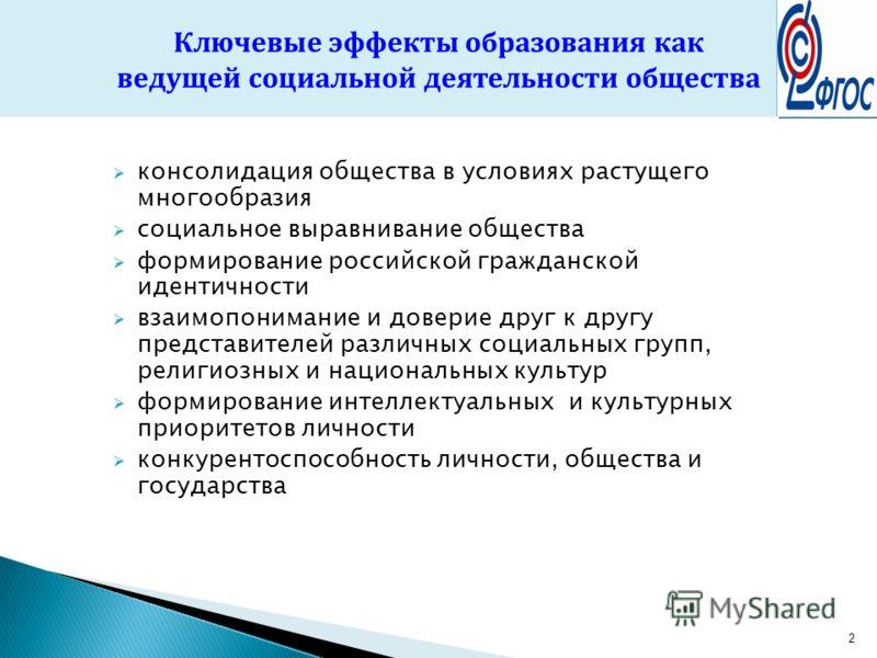 2 консолидация общества в условиях растущего многообразия социальное выравнивание общества формирование российской гражданской идентичности взаимопонимание и доверие друг к другу представителей различных социальных групп, религиозных и национальных к