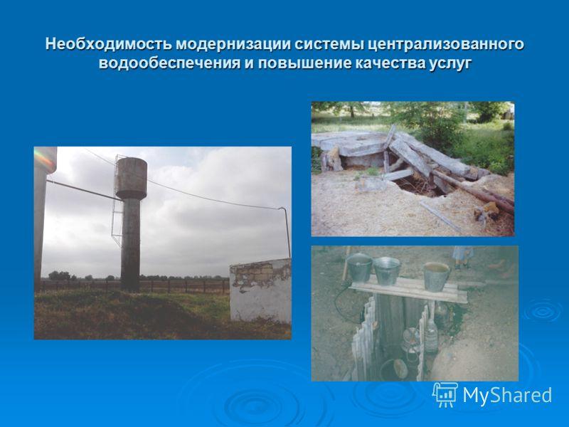 Необходимость модернизации системы централизованного водообеспечения и повышение качества услуг