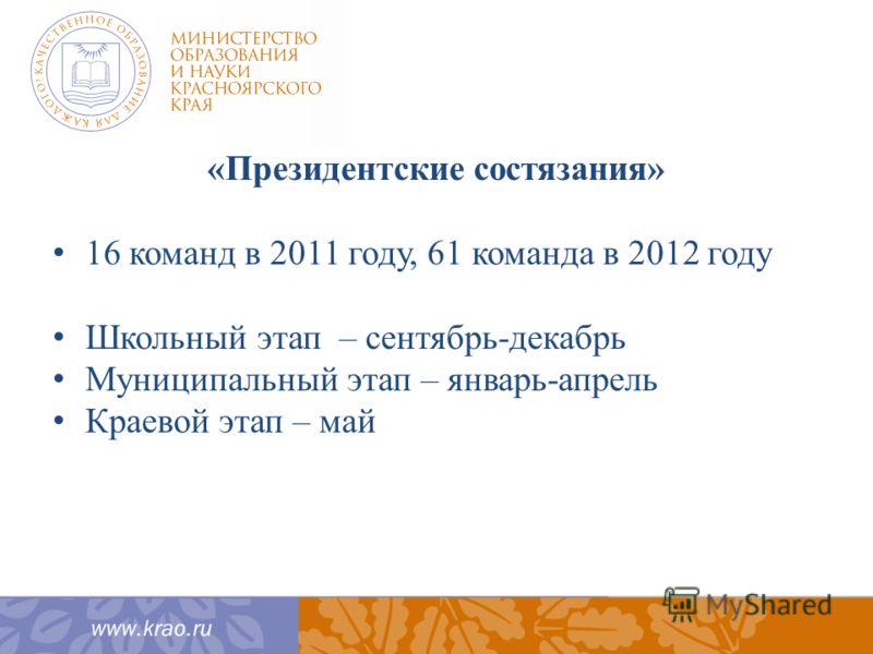 «Президентские состязания» 16 команд в 2011 году, 61 команда в 2012 году Школьный этап – сентябрь-декабрь Муниципальный этап – январь-апрель Краевой этап – май