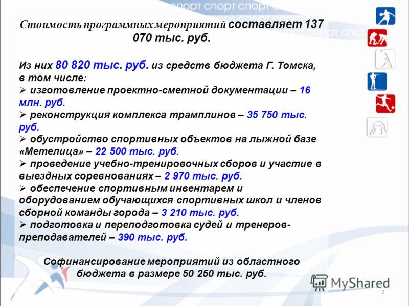 Стоимость программных мероприятий составляет 137 070 тыс. руб. Из них 80 820 тыс. руб. из средств бюджета Г. Томска, в том числе: изготовление проектно-сметной документации – 16 млн. руб. реконструкция комплекса трамплинов – 35 750 тыс. руб. обустрой