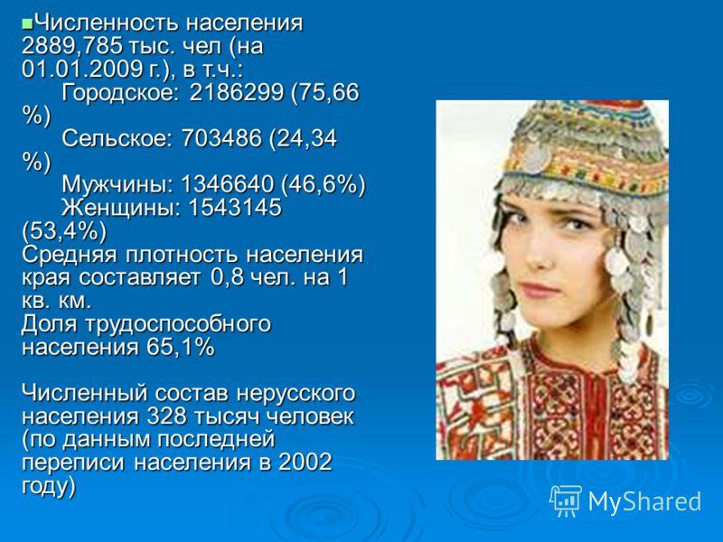 Численность населения 2889,785 тыс. чел (на 01.01.2009 г.), в т.ч.: Городское: 2186299 (75,66 %) Сельское: 703486 (24,34 %) Мужчины: 1346640 (46,6%) Женщины: 1543145 (53,4%) Средняя плотность населения края составляет 0,8 чел. на 1 кв. км. Доля трудо