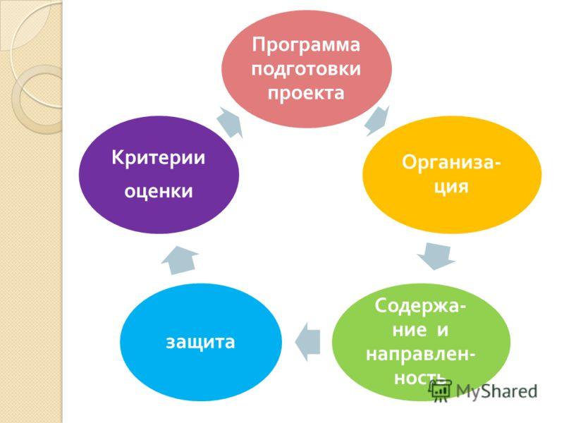 Программа подготовки проекта Организа - ция Содержа - ние и направлен - ность защита Критерии оценки