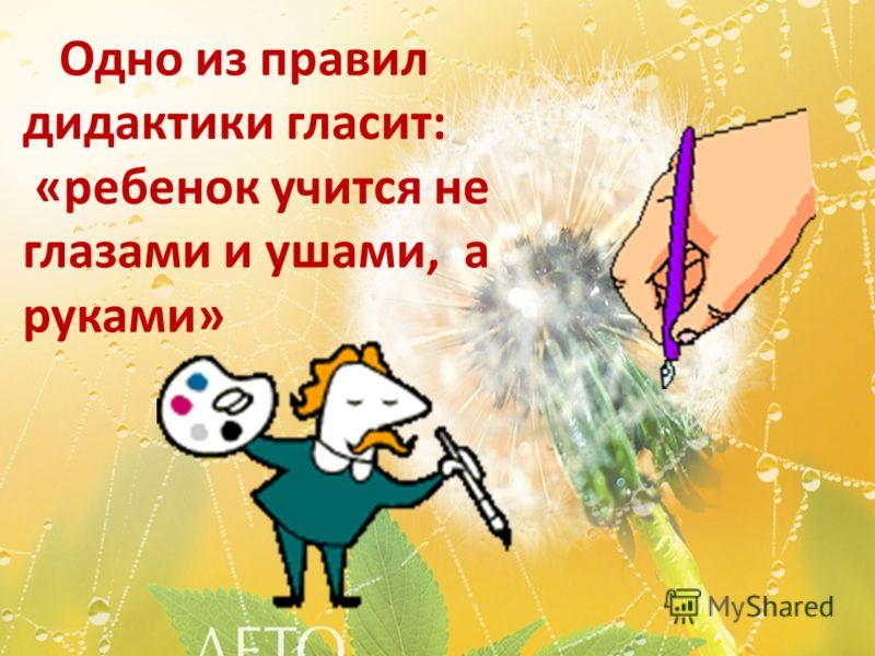 Одно из правил дидактики гласит: «ребенок учится не глазами и ушами, а руками»