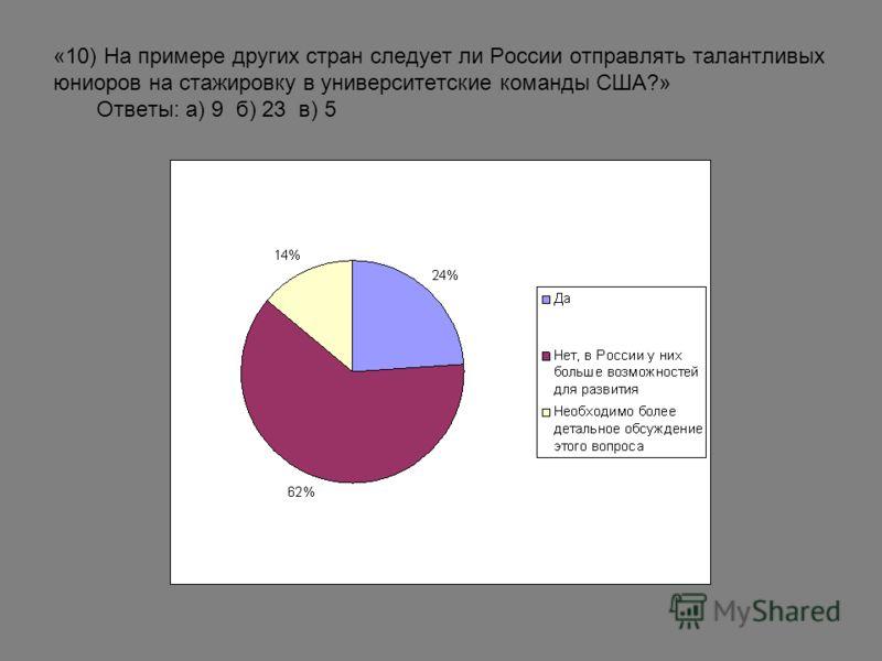 «10) На примере других стран следует ли России отправлять талантливых юниоров на стажировку в университетские команды США?» Ответы: а) 9 б) 23 в) 5