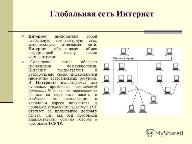 Глобальная сеть Интернет Интернет представляет собой глобальную компьютерную сеть, соединяющую отдельные сети. Интернет обеспечивает обмен информацией между всеми компьютерами. Соединение сетей обладает громадными возможностями. Интернет предоставляе