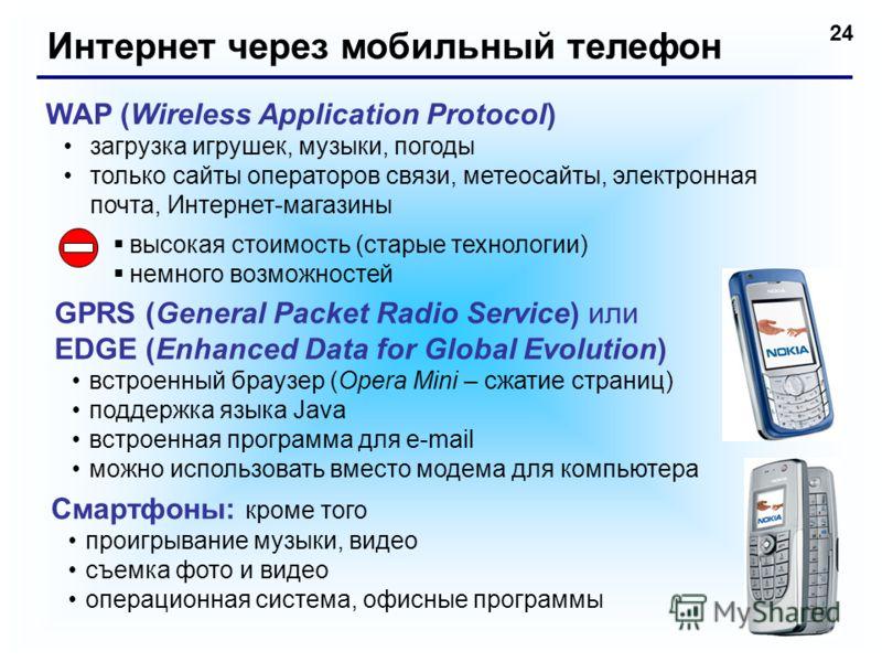 24 Интернет через мобильный телефон WAP (Wireless Application Protocol) загрузка игрушек, музыки, погоды только сайты операторов связи, метеосайты, электронная почта, Интернет-магазины высокая стоимость (старые технологии) немного возможностей GPRS (