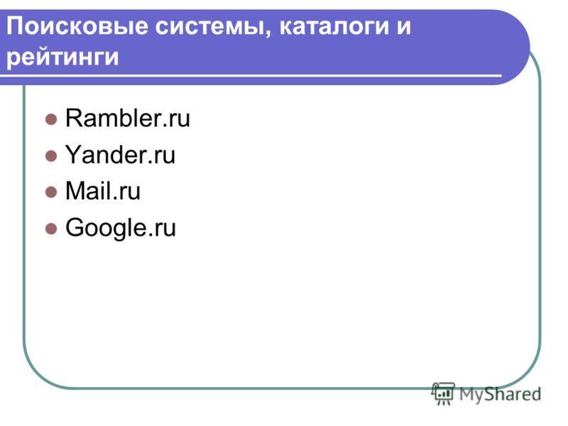 Поисковые системы, каталоги и рейтинги Rambler.ru Yander.ru Mail.ru Google.ru