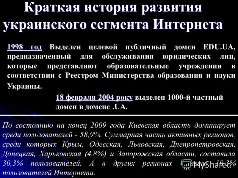 Краткая история развития украинского сегмента Интернета 1998 год 1998 год Выделен целевой публичный домен EDU.UA, предназначенный для обслуживания юридических лиц, которые представляют образовательные учреждения в соответствии с Реестром Министерства
