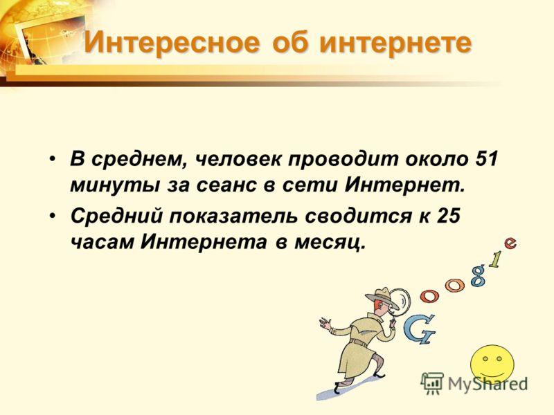 В среднем, человек проводит около 51 минуты за сеанс в сети Интернет. Средний показатель сводится к 25 часам Интернета в месяц. Интересное об интернете