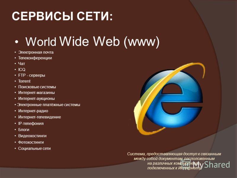 World Wide Web (www) Электронная почта Телеконференции Чат ICQ FTP - серверы Torrent Поисковые системы Интернет-магазины Интернет-аукционы Электронные платёжные системы Интернет-радио Интернет-телевидение IP-телефония Блоги Видеохостинги Фотохостинги