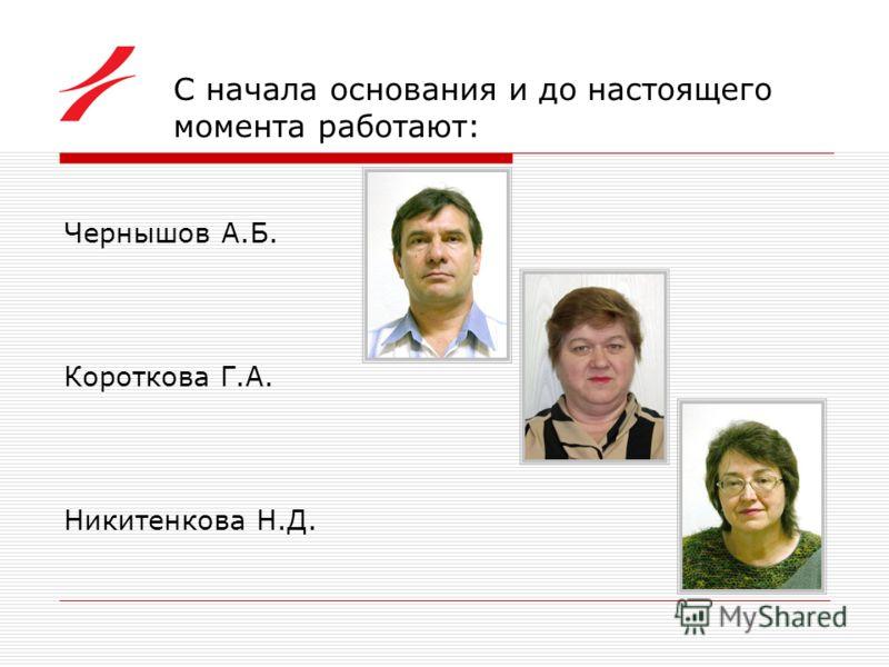 С начала основания и до настоящего момента работают: Чернышов А.Б. Короткова Г.А. Никитенкова Н.Д.