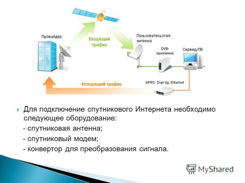 Для подключение спутникового Интернета необходимо следующее оборудование: - спутниковая антенна; - спутниковый модем; - конвертор для преобразования сигнала.