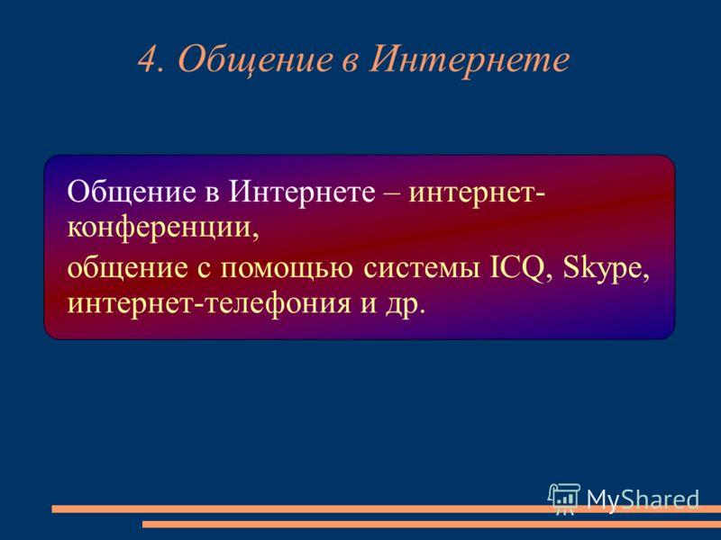 4. Общение в Интернете Общение в Интернете – интернет- конференции, общение с помощью системы ICQ, Skype, интернет-телефония и др.