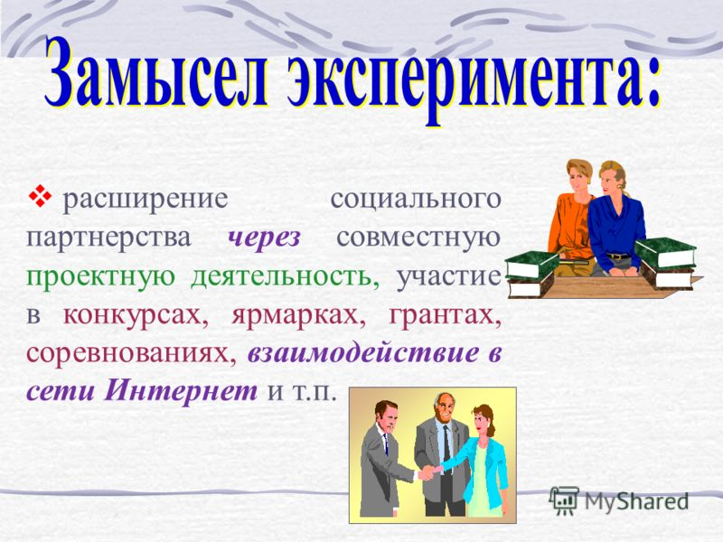 расширение социального партнерства через совместную проектную деятельность, участие в конкурсах, ярмарках, грантах, соревнованиях, взаимодействие в сети Интернет и т.п.