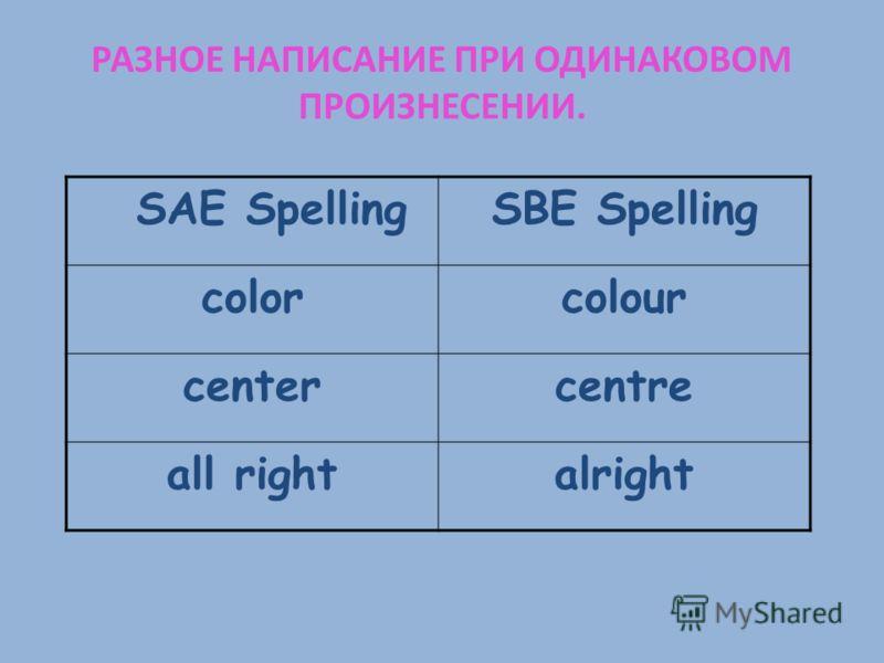 РАЗНОЕ НАПИСАНИЕ ПРИ ОДИНАКОВОМ ПРОИЗНЕСЕНИИ. SAE SpellingSBE Spelling colorcolour centercentre all rightalright