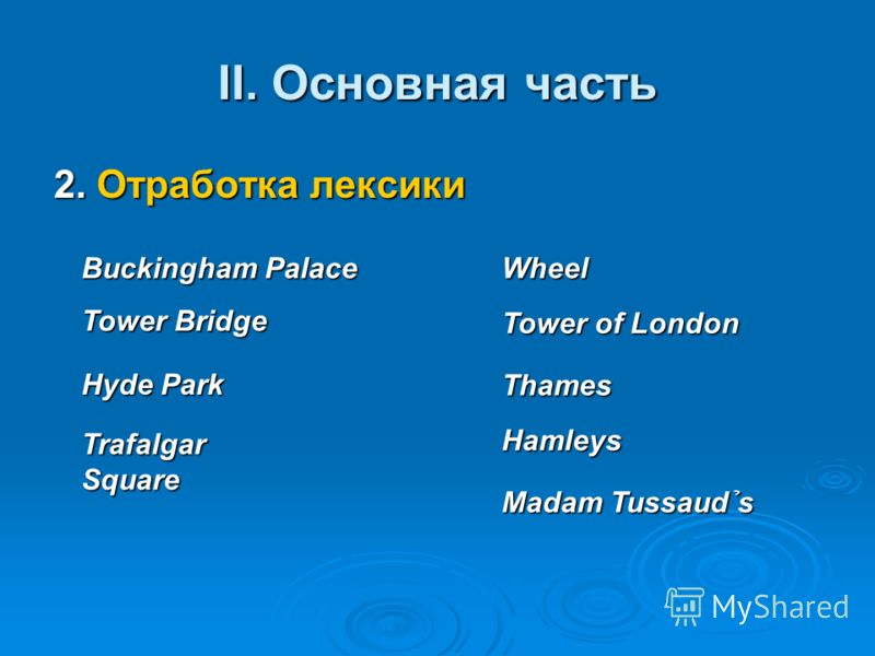 II. Основная часть 2. Отработка лексики Buckingham Palace Tower Bridge Hyde Park Trafalgar Square Thames Hamleys Madam Tussaud s Wheel Tower of London