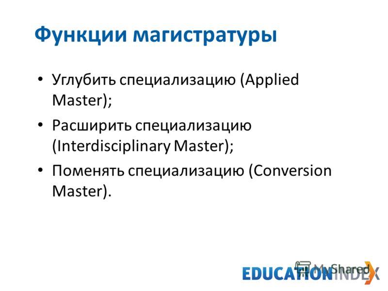 Функции магистратуры Углубить специализацию (Applied Master); Расширить специализацию (Interdisciplinary Master); Поменять специализацию (Conversion Master).