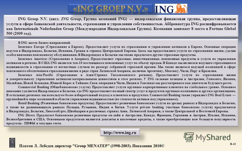 ING Groep N.V. (англ. ING Group, Группа компаний ING) нидерландская финансовая группа, предоставляющая услуги в сфере банковской деятельности, страхования и управления собственностью. Аббревиатура ING расшифровывается как Internationale Nederlanden G