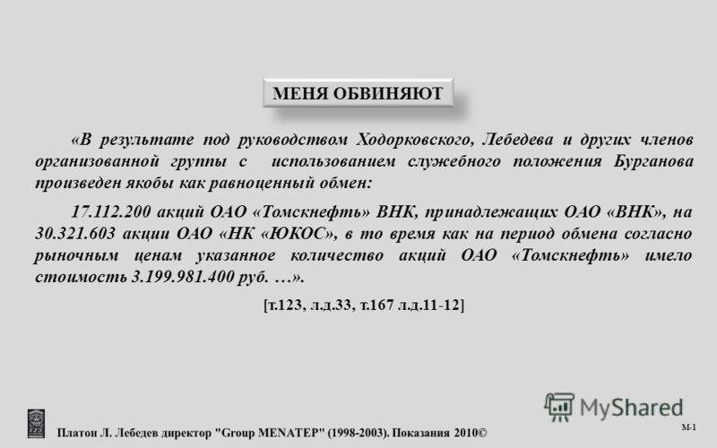 «В результате под руководством Ходорковского, Лебедева и других членов организованной группы с использованием служебного положения Бурганова произведен якобы как равноценный обмен: 17.112.200 акций ОАО «Томскнефть» ВНК, принадлежащих ОАО «ВНК», на 30