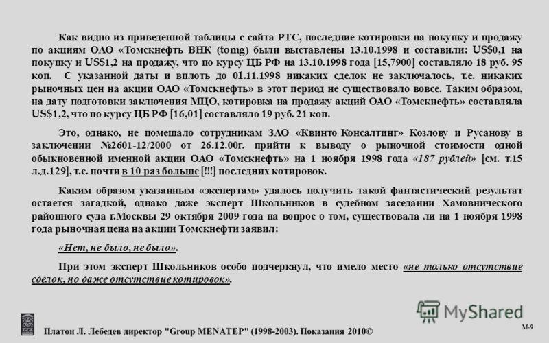 М -9 Как видно из приведенной таблицы с сайта РТС, последние котировки на покупку и продажу по акциям ОАО « Томскнефть ВНК (tomg) были выставлены 13.10.1998 и составили : US$0,1 на покупку и US$1,2 на продажу, что по курсу ЦБ РФ на 13.10.1998 года [1