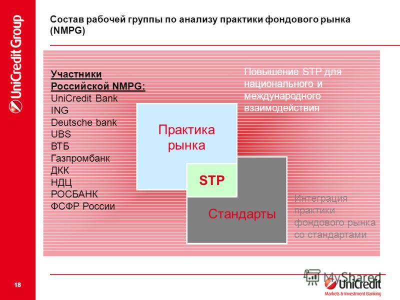 18 Повышение STP для национального и международного взаимодействия Интеграция практики фондового рынка со стандартами STP Стандарты Практика рынка Состав рабочей группы по анализу практики фондового рынка (NMPG) Участники Российской NMPG: UniCredit B