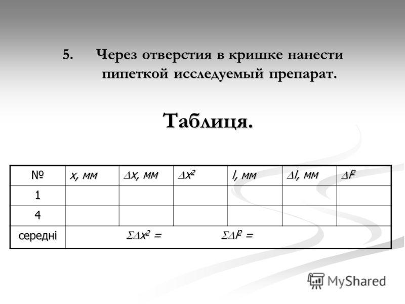 5.Через отверстия в кришке нанести пипеткой исследуемый препарат. х, мм х, мм х, мм х 2 х 2 l, мм l, мм l, мм l 2 l 2 1 4 середні x 2 = l 2 = x 2 = l 2 = Таблиця.