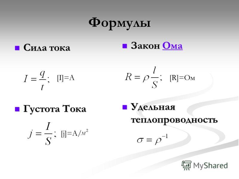 Формулы Сила тока Сила тока Густота Тока Густота Тока Закон ОмаОма Удельная теплопроводность [I]=A [j]=A/ [R]=Ом
