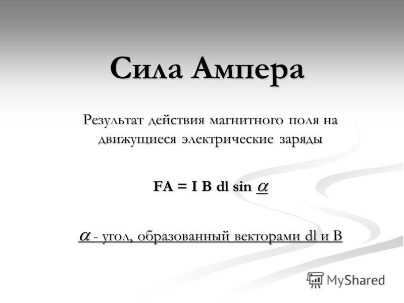 Сила Ампера Результат действия магнитного поля на движущиеся электрические заряды FA = I B dl sin FA = I B dl sin - угол, образованный векторами dl и В - угол, образованный векторами dl и В