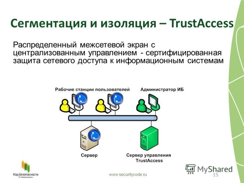 15 Распределенный межсетевой экран с централизованным управлением - сертифицированная защита сетевого доступа к информационным системам www.securitycode.ru Сегментация и изоляция – TrustAccess